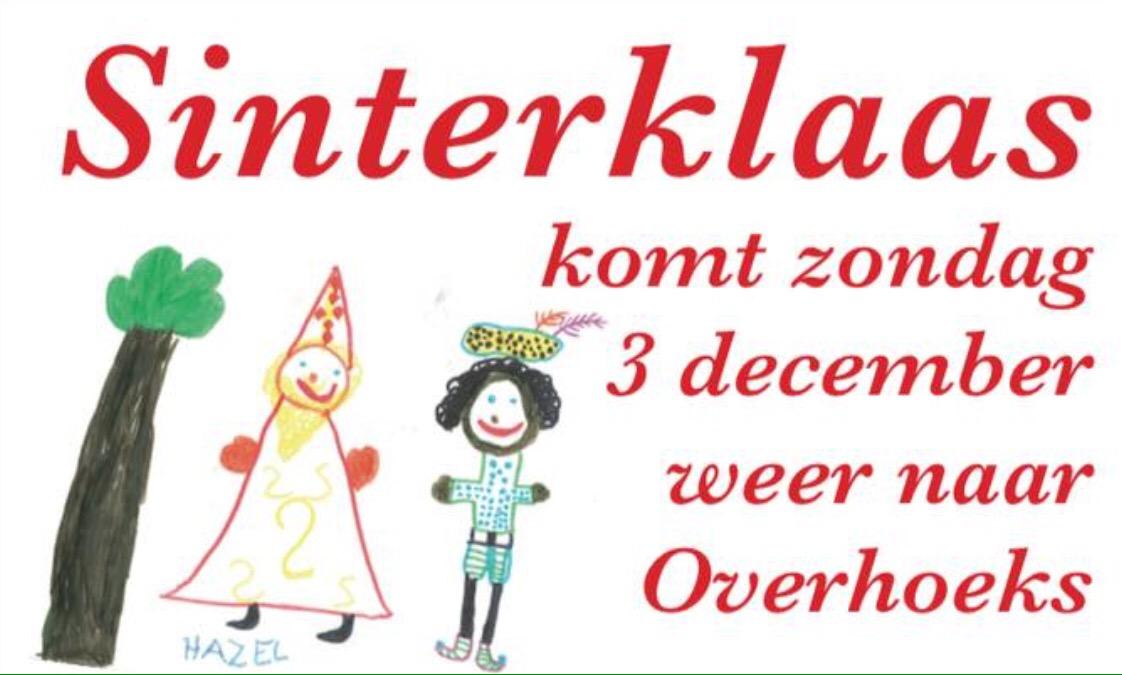 Sinterklaas komt 3 december naar Overhoeks